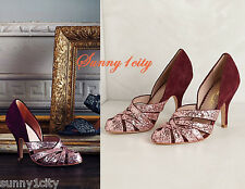 NEW Anthropologie High Halls Pumps By Miss Albright, Wine US 6 7, 5 Star Reviews