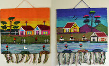 3D Fabric Wall Hanging made with Recycled Textiles Riverside Farmhouse Scene
