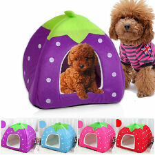 Cute Strawberry Pet Bed House Basket Kennel Mat For Small Medium Dog Cat Doggy