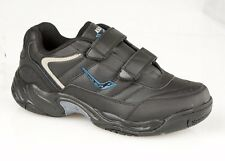 Mens Boys Wide Fitting Black Leather Velcro Trainers Shoes Size 7-14