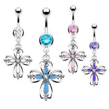 316L Surgical Steel Epoxy Centered CZ Heart Cross Dangle Navel Belly Ring