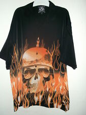 NEW FLAMING SKELETON HAWAIIAN SHIRT IN KAISER HELMET by ROAD HOUSE / DRAGONFLY
