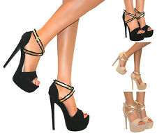 WOMENS STRAPPY PEEP TOE PLATFORM STILETTO HIGH HEEL PARTY SHOE SANDAL SIZE PROM