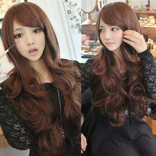 fashion new curly wavy brown hair full wigs cosplay party long wig cheap gift