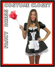 French Maid Fancy Dress Costume Halloween Servant Uniform Outfit Hens Party
