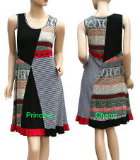 Woman Bohemian Tunic Patch Dress Black Red Multi Size 10 12 14 16 New Sleeveless