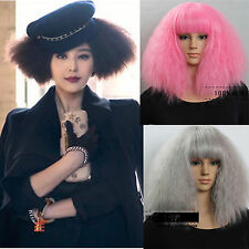 fashion lady gaga style new curly wavy long hair full wigs cosplay party wig
