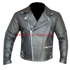 Mens CUSTOM BLACK Stud Biker Style Cowhide Leather Motorcycle Motorbike Jacket