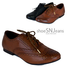 New Women Classic Faux Leather Loafers Casual Flats Lace Up Wingtip Oxford Shoes