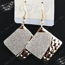 Charms 6-12Pairs Gold Frosted Fashion Women Rhombic Drop Earrings Wholesale Lots