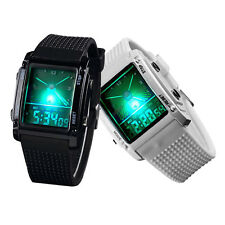 Dual Time Digital LED Backligt Date Day Alarm Stopwatch Silicone Wrist Watch