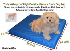 """Truly Waterproof 30""""x24""""x4"""" Memory Foam Dog bed with Durable Velcro cover"""