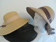 *NEW*WOMEN'S&TEEN Wide Brim Hat100%Straw,Sun Protection(UPF 50)Designed in Italy