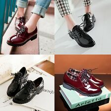 New Women's Shoes Mid Heels Patent Leather Lace Up Flats Oxfords Casual 2 Colors