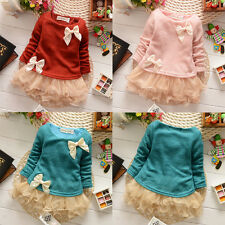 NEW Casual Baby Girls Knit Top Kids Lace Bow Pearl Princess Dress 0-3Y Clothes