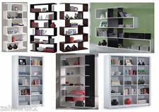 Bookcase Lounge Display Shelving Unit Gloss Black, White, Brown Room Divider NEW