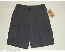 Boys Cargo Shorts CAMP AND CAMPUS Charcoal Gray CANVAS BELT 10 12 14 16 18