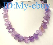 Faceted Nugget Baroque Amethyst Necklace