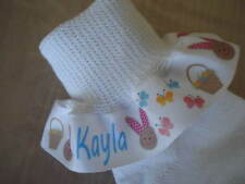 PERSONALIZED Easter Bunny Ruffle Ribbon  Socks for Baby Infant Toddler Girls