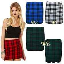 NEW LADIES WOMEN TARTAN CHECK PRINT MINI PARTY SKIRT SIZE 8-14 BY K K COLLECTION