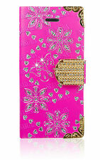 Bling Diamonds Flower Flip Leather Wallet Case Cover For Apple iPhone 4S 4