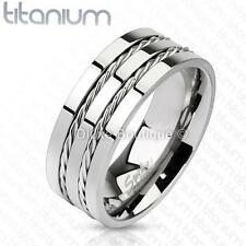 Men's 8mm Solid Titanium Two Wire Rope Inlay Comfort Fit Wedding Band