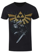 Nintendo The Legend Of Zelda Link Triforce Mens Black T-Shirt - NEW & OFFICIAL
