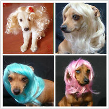 Pet Headwear Dog Long Wigs High Temperature Wire Hair Halloween Festival Gift