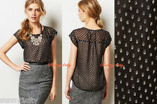 NEW Anthropologie Shimmered Clipped Dot Blouse By Meadow Rue Sz XS-S Silk Black!