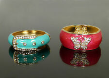 VoE Boutique Choice Coral Teal Enamel Hinged Bangle Bracelet Austrian Crystal