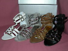 Ladies Low wedge multi strap sandals tp20 Blk,Brn,Sil or White sizes 3-8