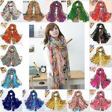 Super Flowers Warm Soft  Voile Scarf Wrap Shawl Stole Chiffon Neck Wrap Women