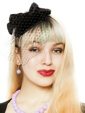 Hey Viv! Pin Up Fascinator with Black Bow and Veil