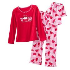 "Jumping Beans 4 4T Girl & 18"" Doll Nightgown Pajamas Red YUM Hot Cocoa American"
