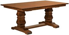Amish Traditional Trestle Dining Table Rectangle Solid Wood Rustic Furniture