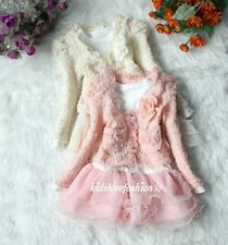 Girls Baby Toddler Pearl Flower Jacket Cardigan + Tutu Top Dress Outfit Set 2-6T