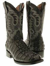 Men's black square toe cowboy boots crocodile alligator tail western rodeo new