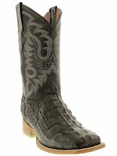 Men's black crocodile alligator back cowboy boots square toe western new leather