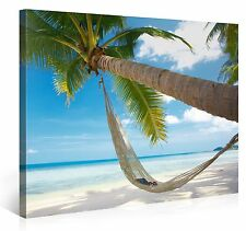 Stretched Canvas Print - CARIBBEAN CHILL Hammock On A Beach Large Wall Art s3117