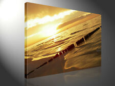 Stretched Canvas Print - THE FINAL STEP Beach At Sunset Large Wall Art s1809
