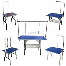 FoxHunter New Folding Dog Pet Grooming Table Height Adjustable Arm Non Slip Top