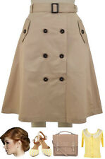 Vintage Inspired KHAKI Full & Flirty A-LINE Trench Skirt with BUTTONS & Belt