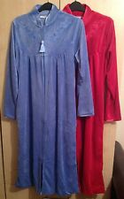 LADIES MARLON VELORE ZIP THROUGH DRESSING GOWN/ROB IN UK SIZES 10-26