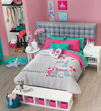 New Girls Teens Gray Aqua Blue Pink City of Love Paris Comforter Bedding Set