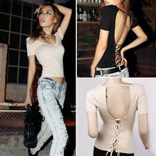 Super Cheap Sexy Lady Backless Tops Club Bar Celeb Summer Casual Fit Shirts Tops