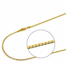 14K Solid Yellow Gold 2mm Concave Curb Cuban Chain Necklace