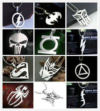 HOT Fashion Marvel Super Hero Steel Chain Pendant Necklace Ring Batman The Flash