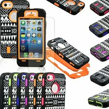 Heavy Duty Hybrid Rugged Rubber Combo Matte Hard Case Cover For iPhone 5 + Film