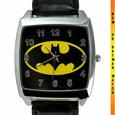 BATMAN  WATCH NEW Stainless Steel LEATHER FASHION  HIP HOP DARK KNIGHT FILM UK