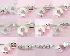10 Style Mix Silver /P Clip Lock Stopper Beads Fit Charm Bracelet Choose Qty T2
